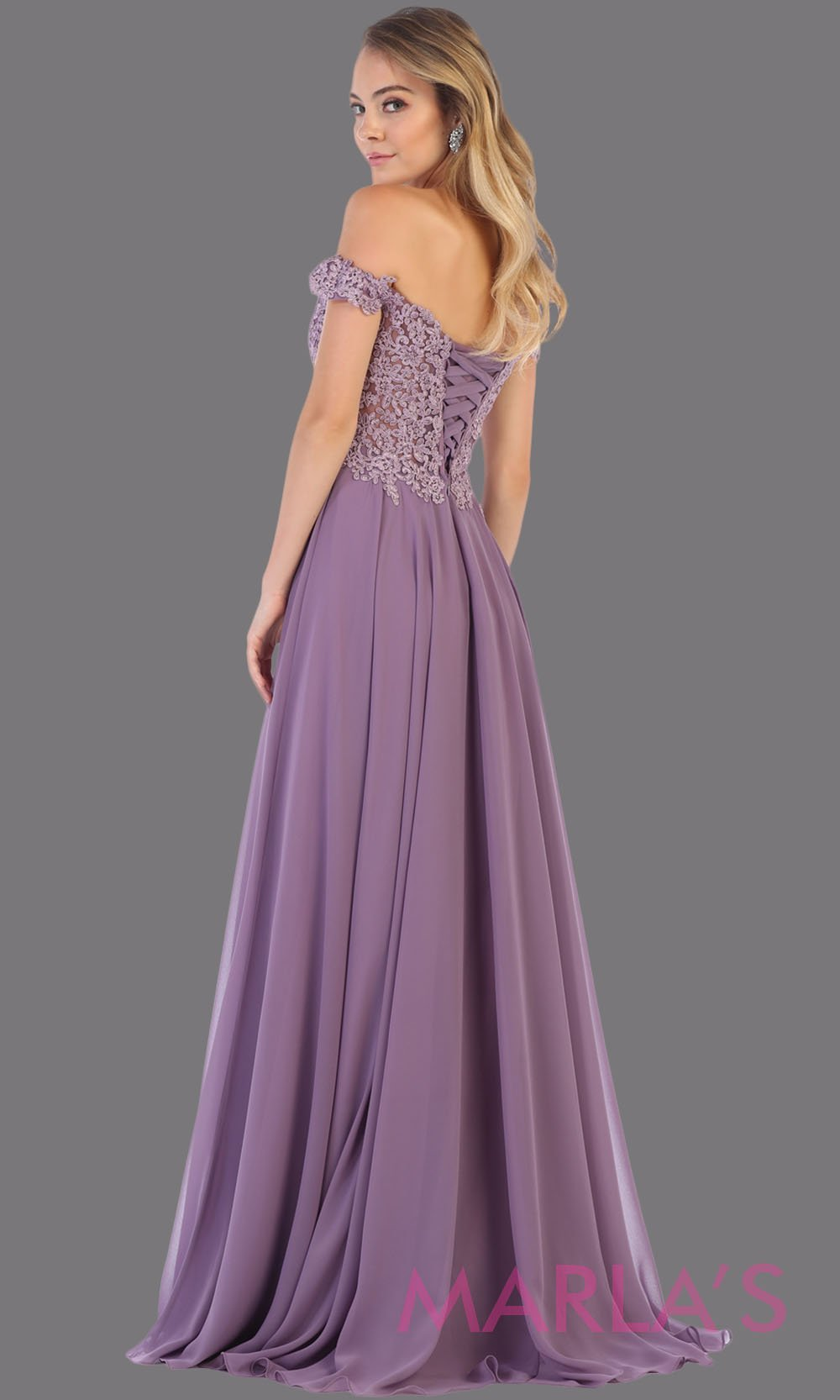 Back of Long flowy lilac off shoulder dress with corset and lace top. This light purple gown is perfect for bridesmaids, simple wedding guest dress, formal party, plus size wedding guest dress, modest gown, indowestern gown