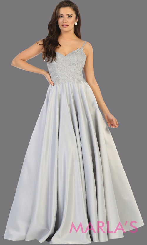Long simple v neck silver semi ballgown with pockets.This light grey flowy gown from mayqueen is perfect for prom, black tie event, engagement dress, formal party dress, plus size wedding guest dresses, bridesmaid, indowestern party dress