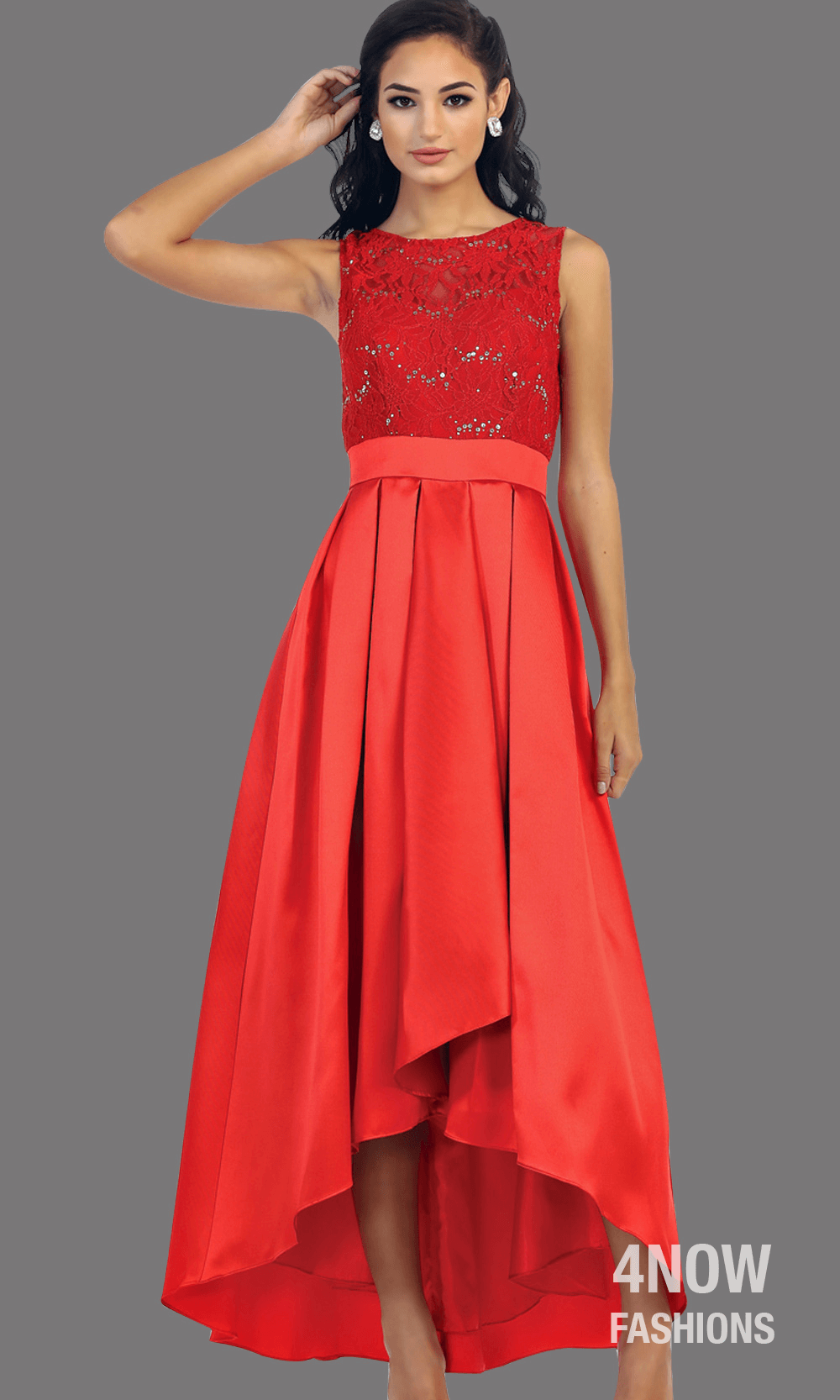 Red High Low Satin Dress with High Neck