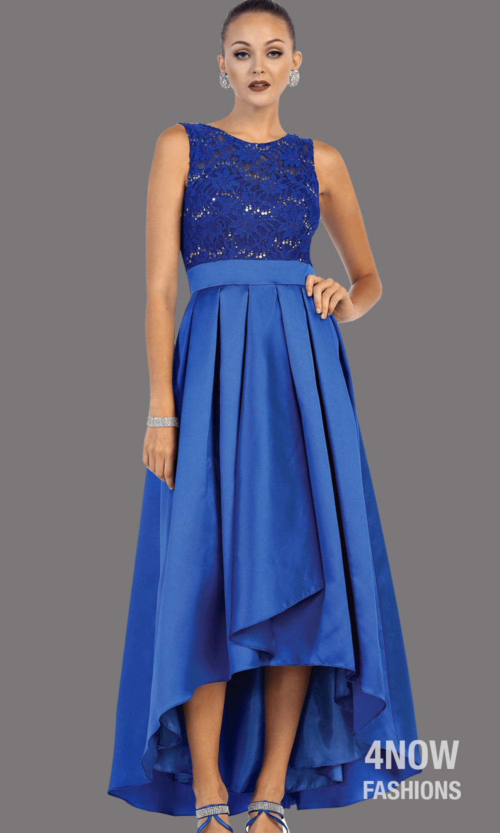 Royal Blue High Low Satin Dress with High Neck