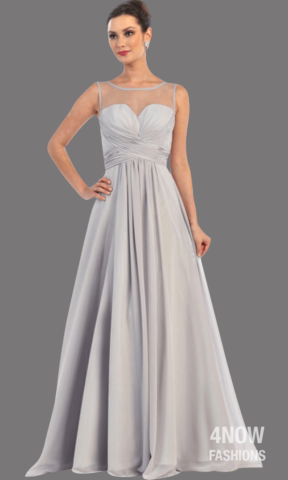 Silver Long Illusion Neckline Dress