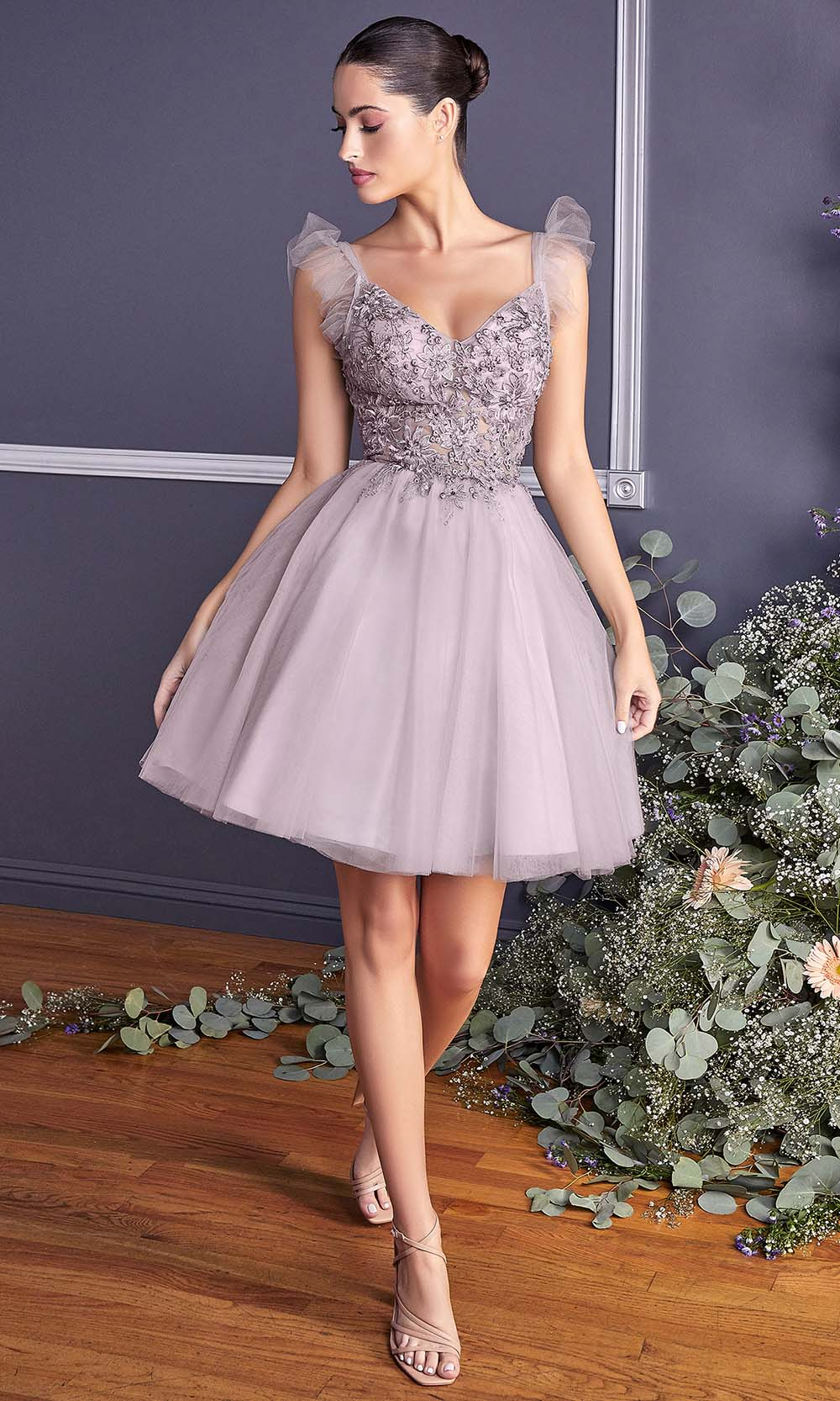 Cinderella Divine - 9238 Floral Appliqued Fit And Flare Short Dress In Mauve