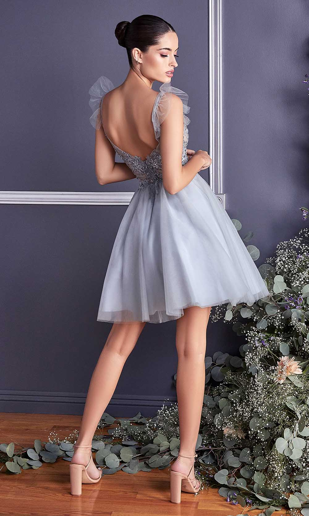 Cinderella Divine - 9238 Floral Appliqued Fit And Flare Short Dress In Silver and Gray