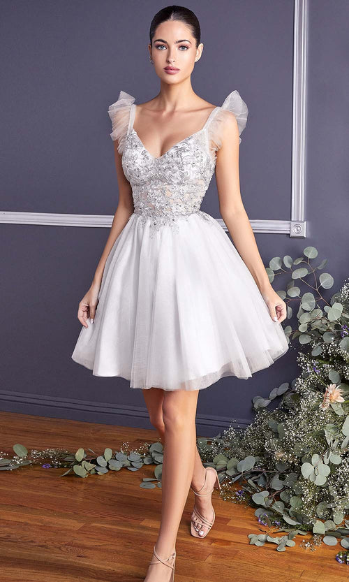 Cinderella Divine - 9238 Floral Appliqued Fit And Flare Short Dress In White and Ivory