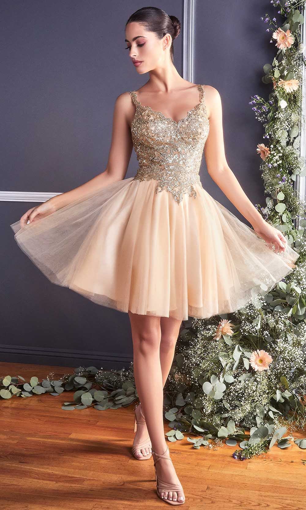 Cinderella Divine - 9239 Metallic Appliqued Fit And Flare Short Dress In Champagne and Gold
