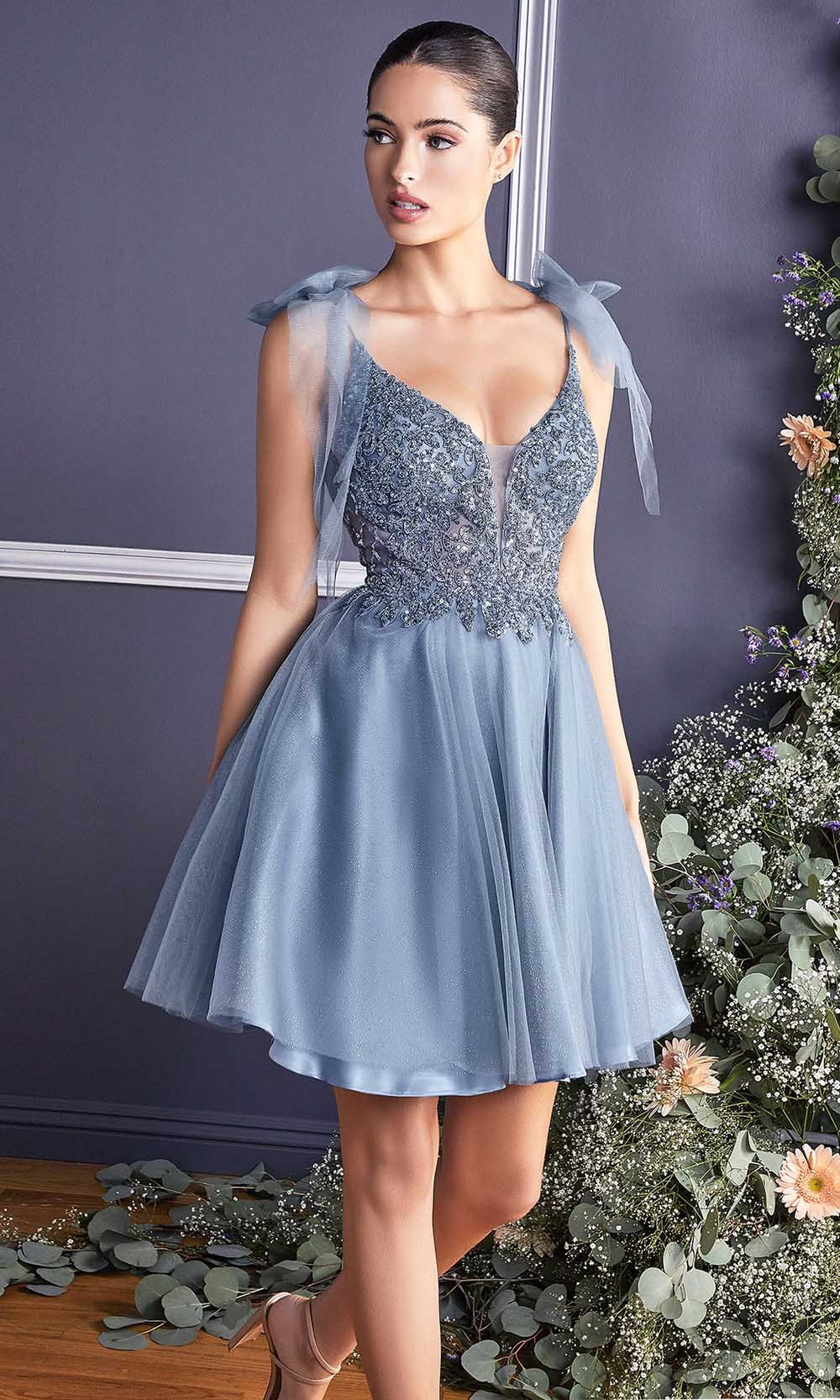 Cinderella Divine - CD0174 Bow Accented Beaded A-Line Dress In Blue