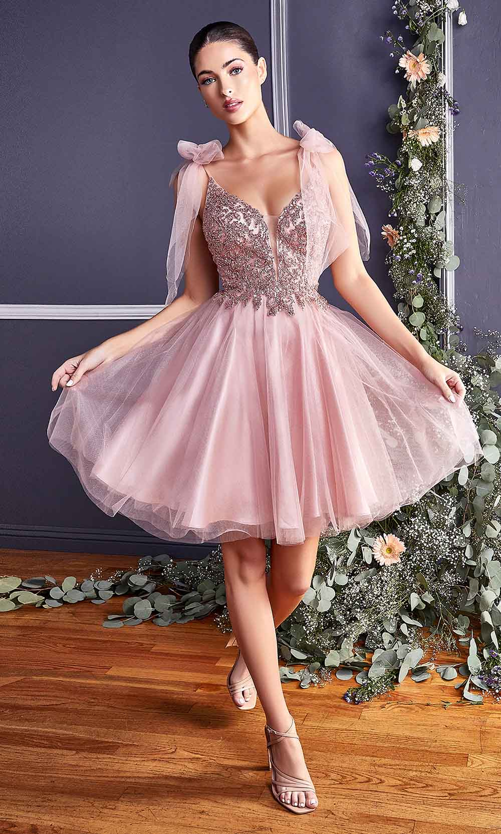 Cinderella Divine - CD0174 Bow Accented Beaded A-Line Dress In Pink