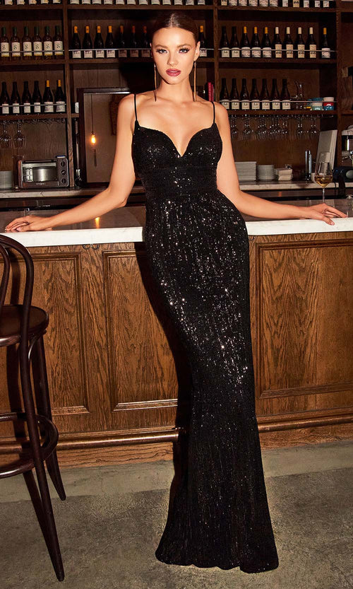 Cinderella Divine - CH180 Full Sequin High Slit Fitted Evening Gown In Black