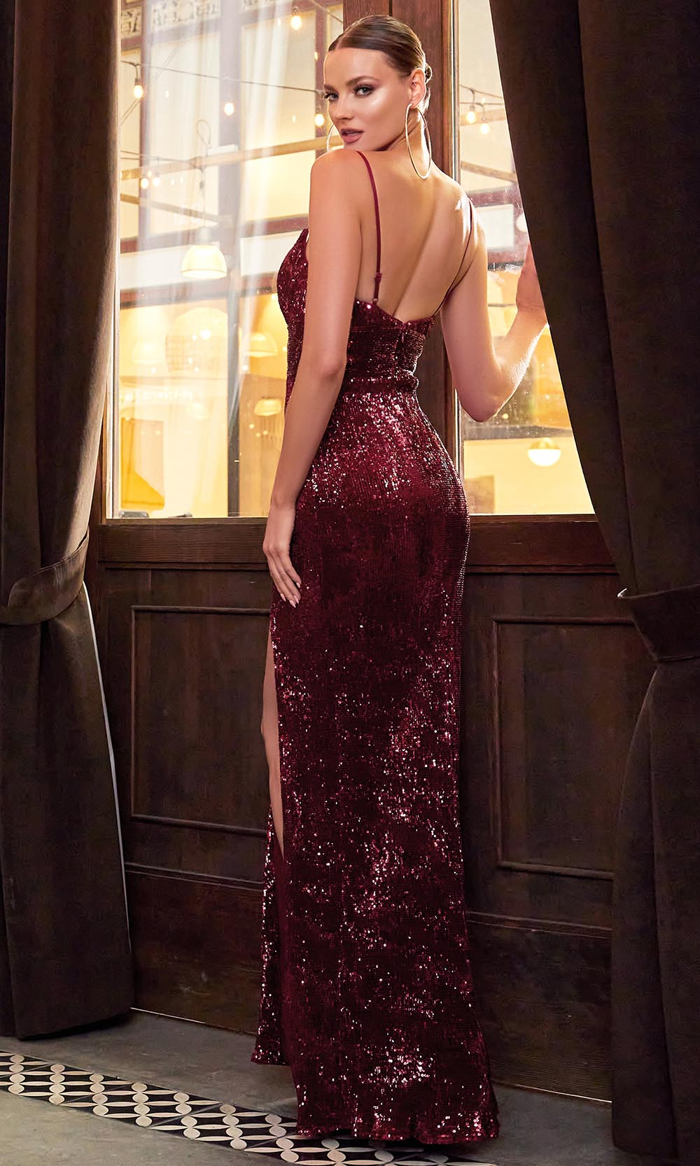Cinderella Divine - CH180 Full Sequin High Slit Fitted Evening Gown Red