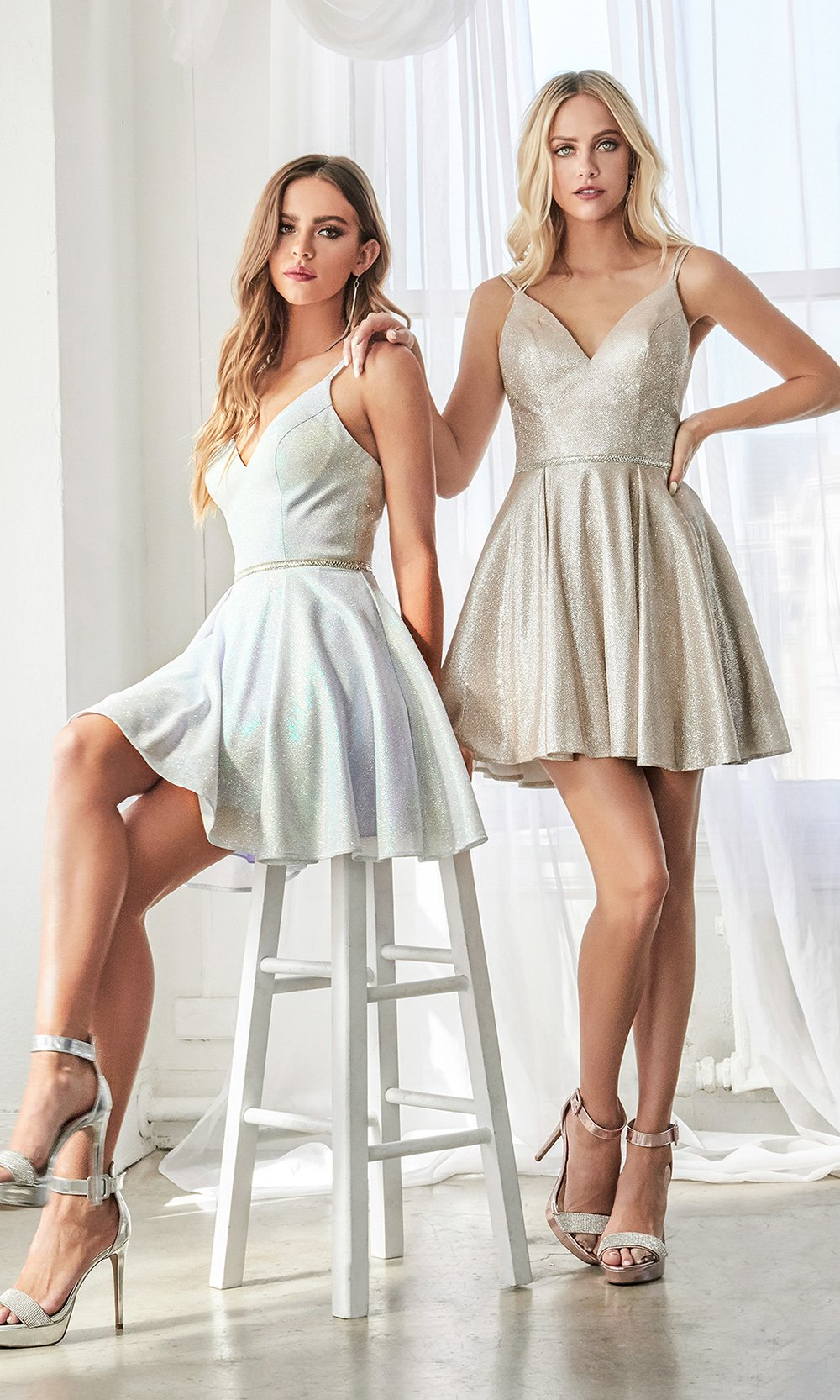 Cinderella Divine CD201 short champagne flowy simple v neck party dress w/simple skirt & rhinestone belt. Light gold metallic is perfect for prom, graduation, grade 8 grad, confirmation dress, bat mitzvah dress, quinceanera damas. Plus sizes avail