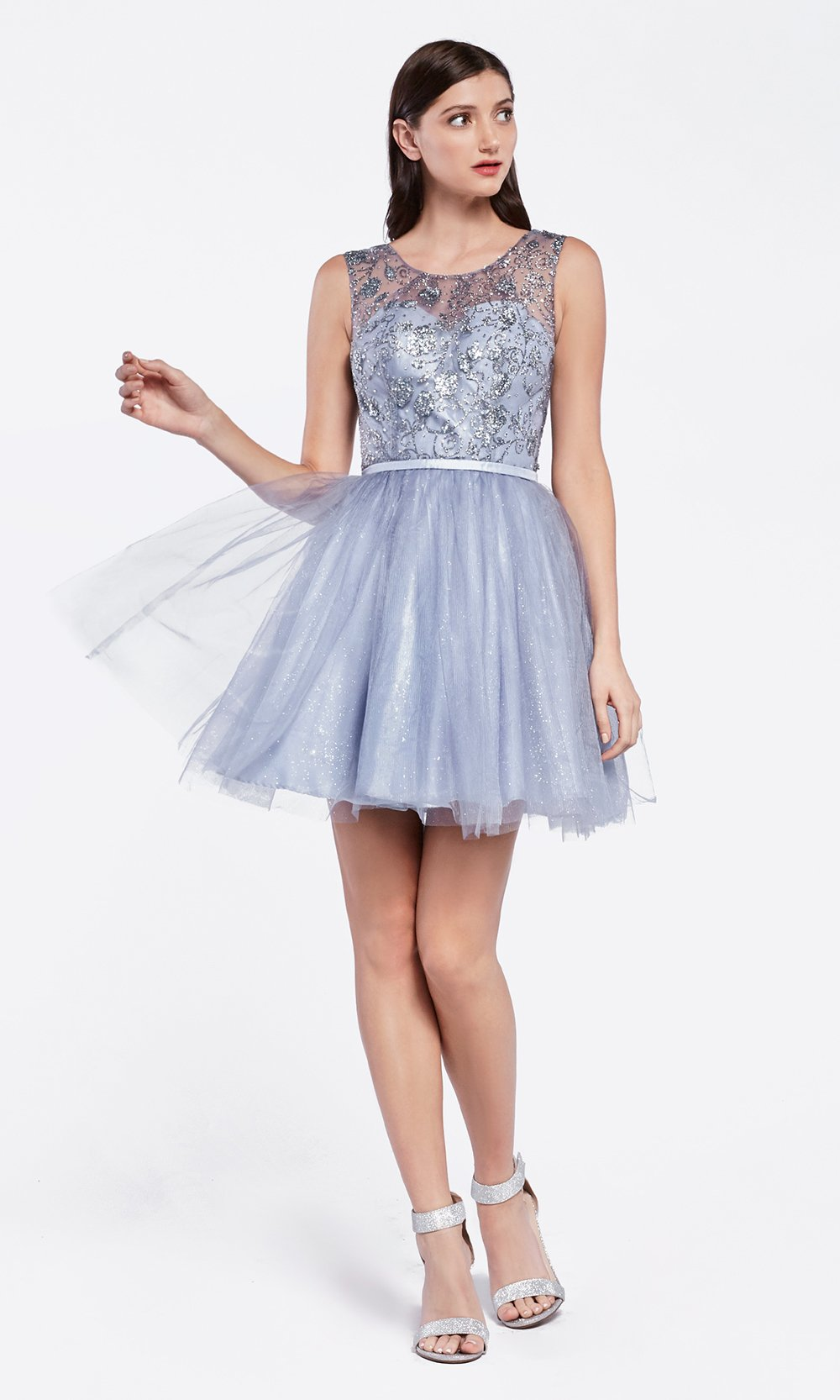 Cinderella Divine CD20 short dusty blue flowy high neck sequin beaded party dress w/ wide straps. Blue grey shiny dress is perfect for prom, graduation, grade 8 grad, confirmation dress, bat mitzvah dress, quinceanera damas. Plus sizes avail