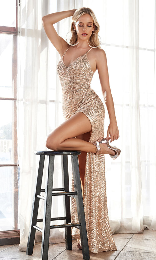 Cinderella Divine CH225 long champagne gold fitted open back sequin beaded dress with high slit