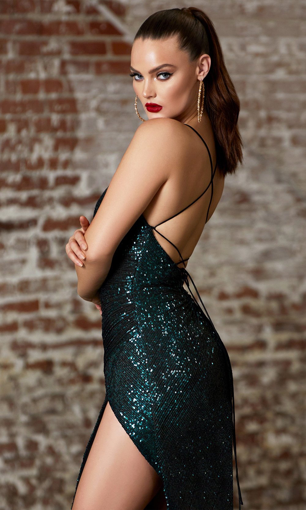 Cinderella Divine CH225 long emerald green fitted open back sequin beaded dress with high slit-side of dress