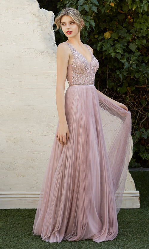 Cinderella Divine CJ535 long dusty rose pink dress with flowy skirt, sequin beaded top, wide straps. Plus sizes available-2.jpg