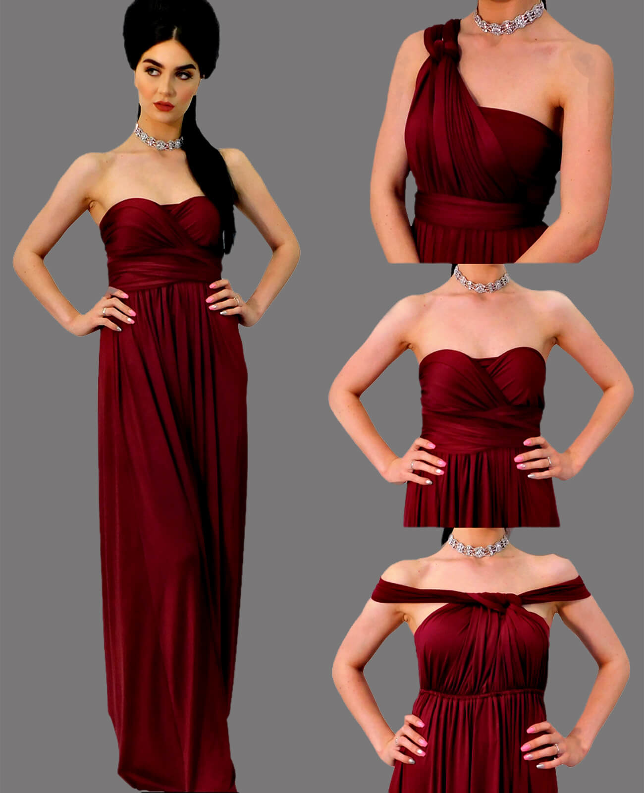 7e2d422c465 Infinity Dress in Burgundy – 4Now Fashion