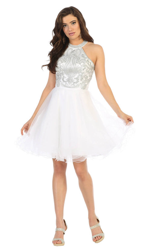 May Queen - MQ1657 Halter Embellished Dress In White
