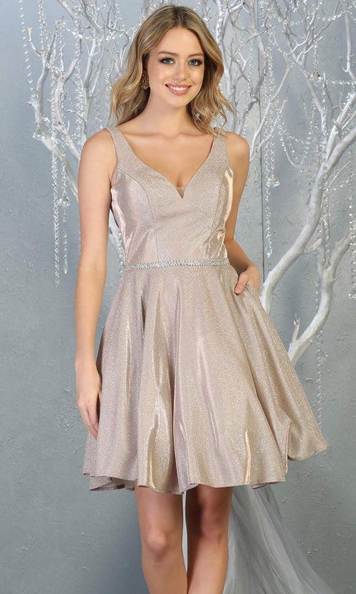 Mayqueen MQ1777 short rose gold metallic flowy simple grade 8 graduation dress w/ straps & belt. Light pink party dress is perfect for graduation, grade 8 grad, confirmation dress, bat mitzvah dress, damas. Plus sizes avail for grad dress.jpg
