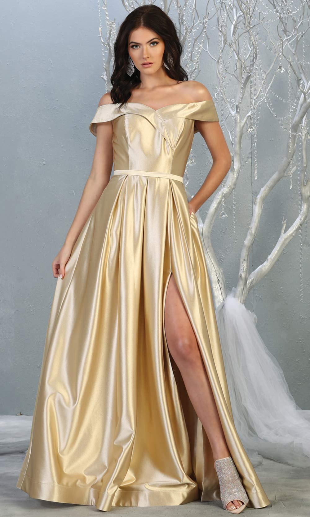 Mayqueen MQ 1781 long champagne off shoulder evening flowy dress w/ high slit. Full length light gold satin gown is perfect for  enagagement/e-shoot dress, formal wedding guest, indowestern gown, evening party dress, prom, bridesmaid. Plus sizes avail.jpg