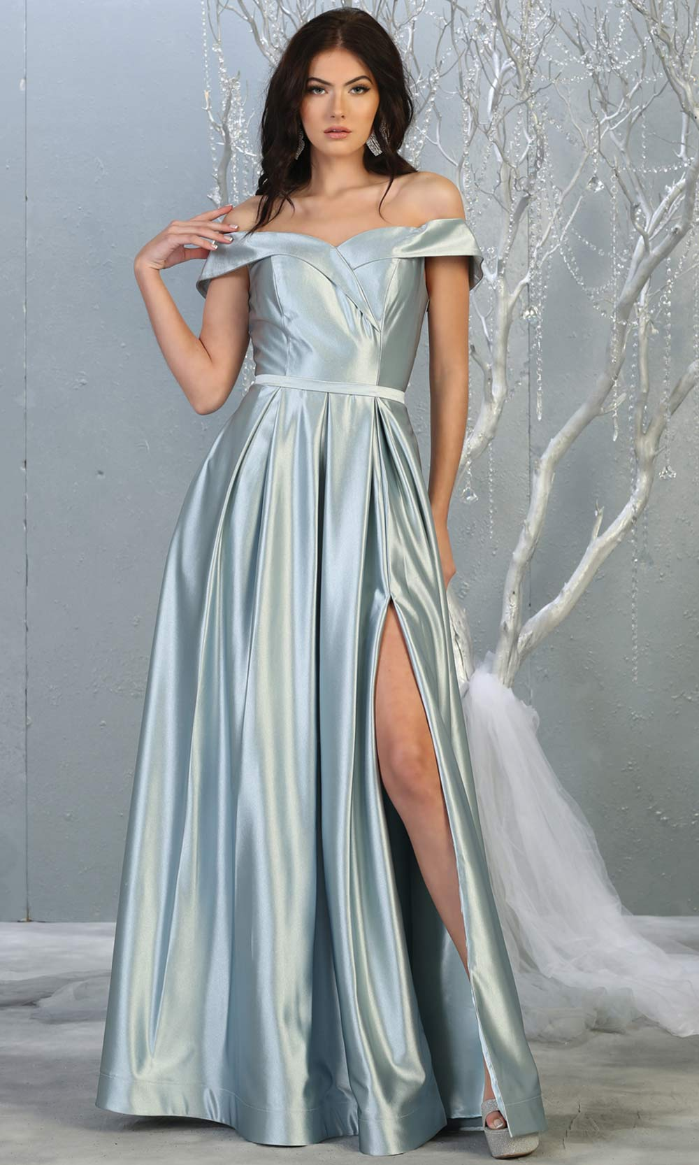 Mayqueen MQ 1781 long dusty blue off shoulder evening flowy dress w/high slit. Full length light blue satin gown is perfect for  enagagement/e-shoot dress, formal wedding guest, indowestern gown, evening party dress, prom, bridesmaid. Plus sizes avail.jpg