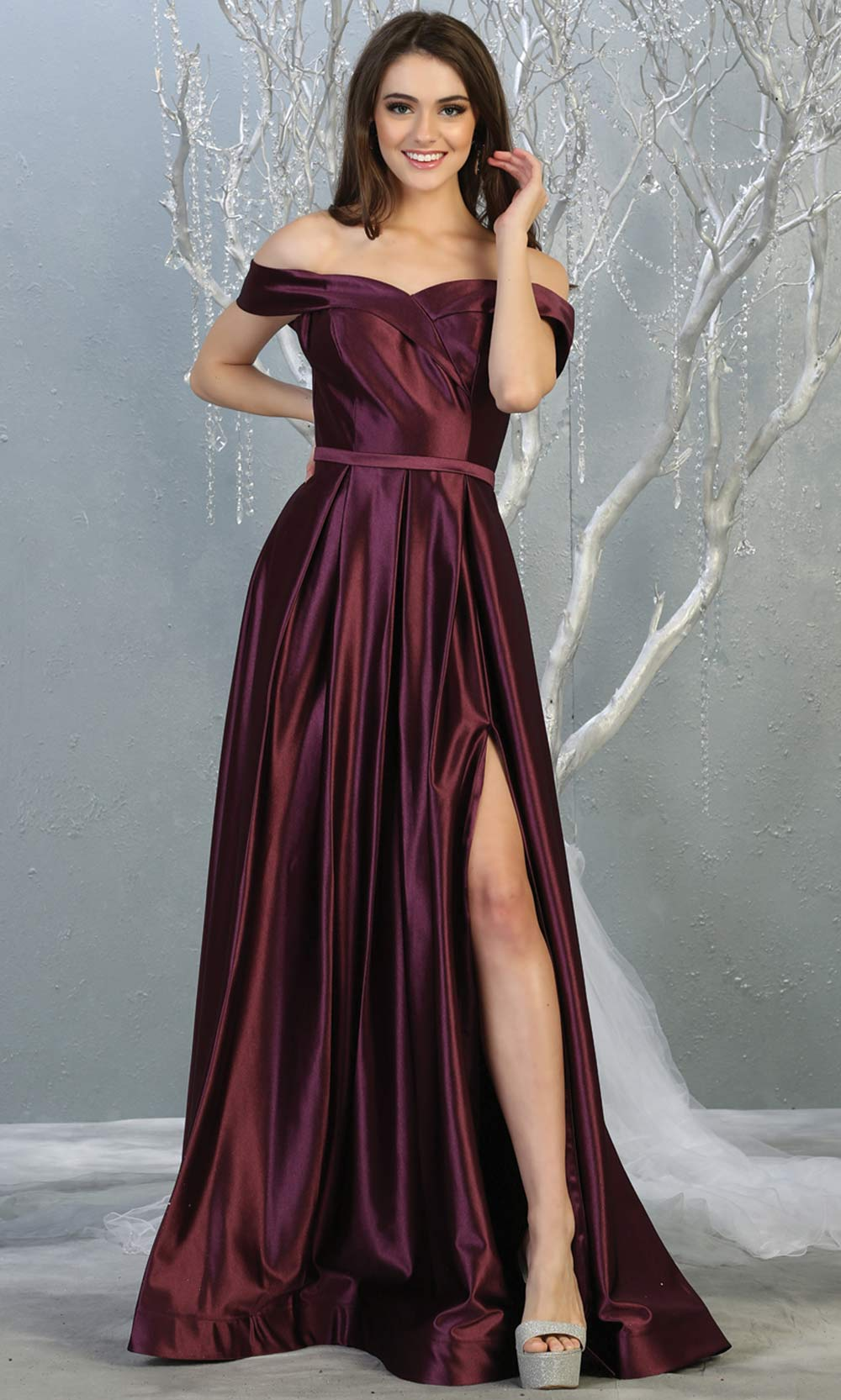 Mayqueen MQ 1781 long eggplantt off shoulder evening flowy dress w/ high slit.Full length dark purple satin gown is perfect for  enagagement/e-shoot dress, formal wedding guest, indowestern gown, evening party dress, prom, bridesmaid. Plus sizes avail.jpg