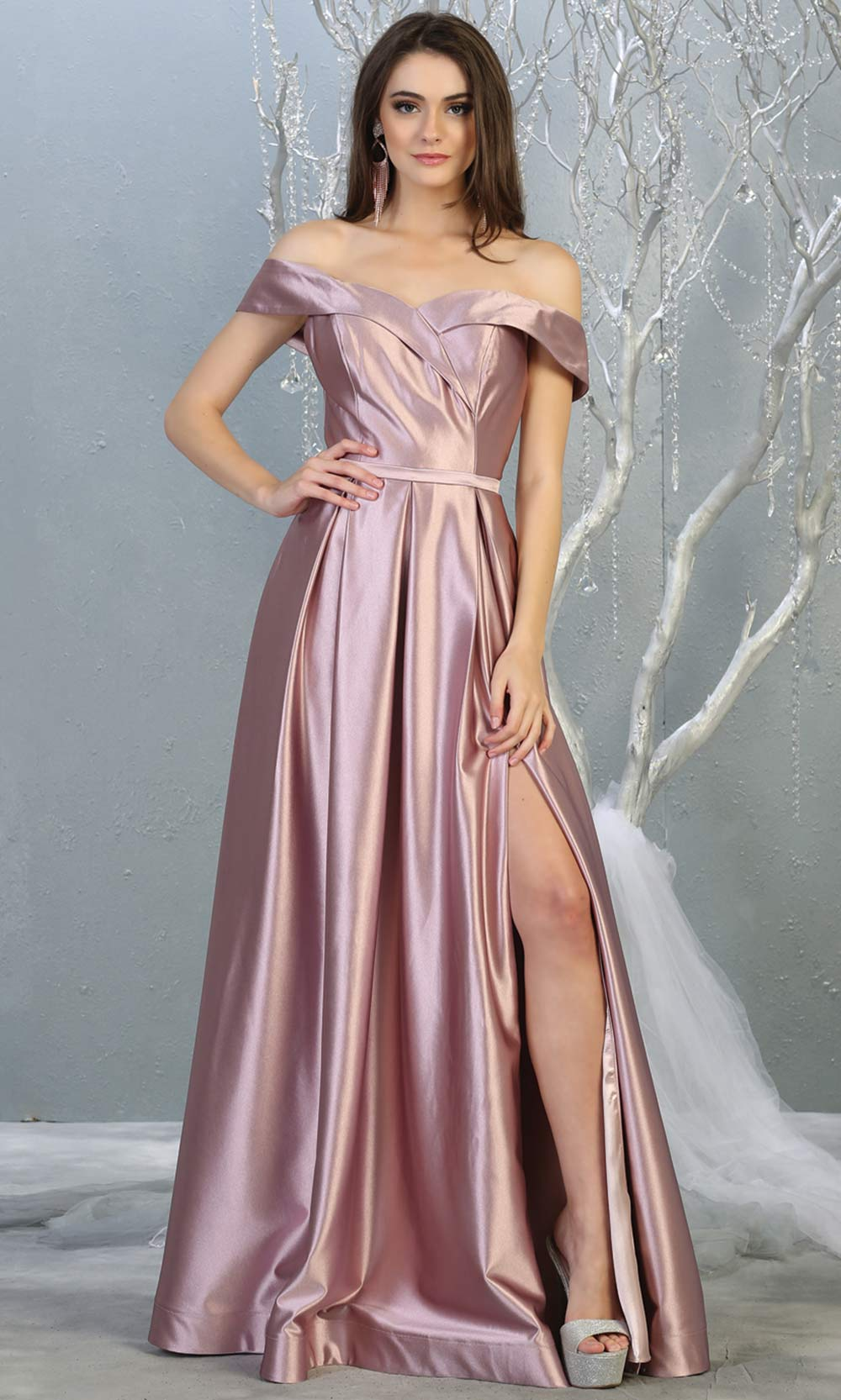 Mayqueen MQ 1781 long mauve off shoulder evening flowy dress w/ high slit. Full length dusty rose satin gown is perfect for  enagagement/e-shoot dress, formal wedding guest, indowestern gown, evening party dress, prom, bridesmaid. Plus sizes avail.jpg