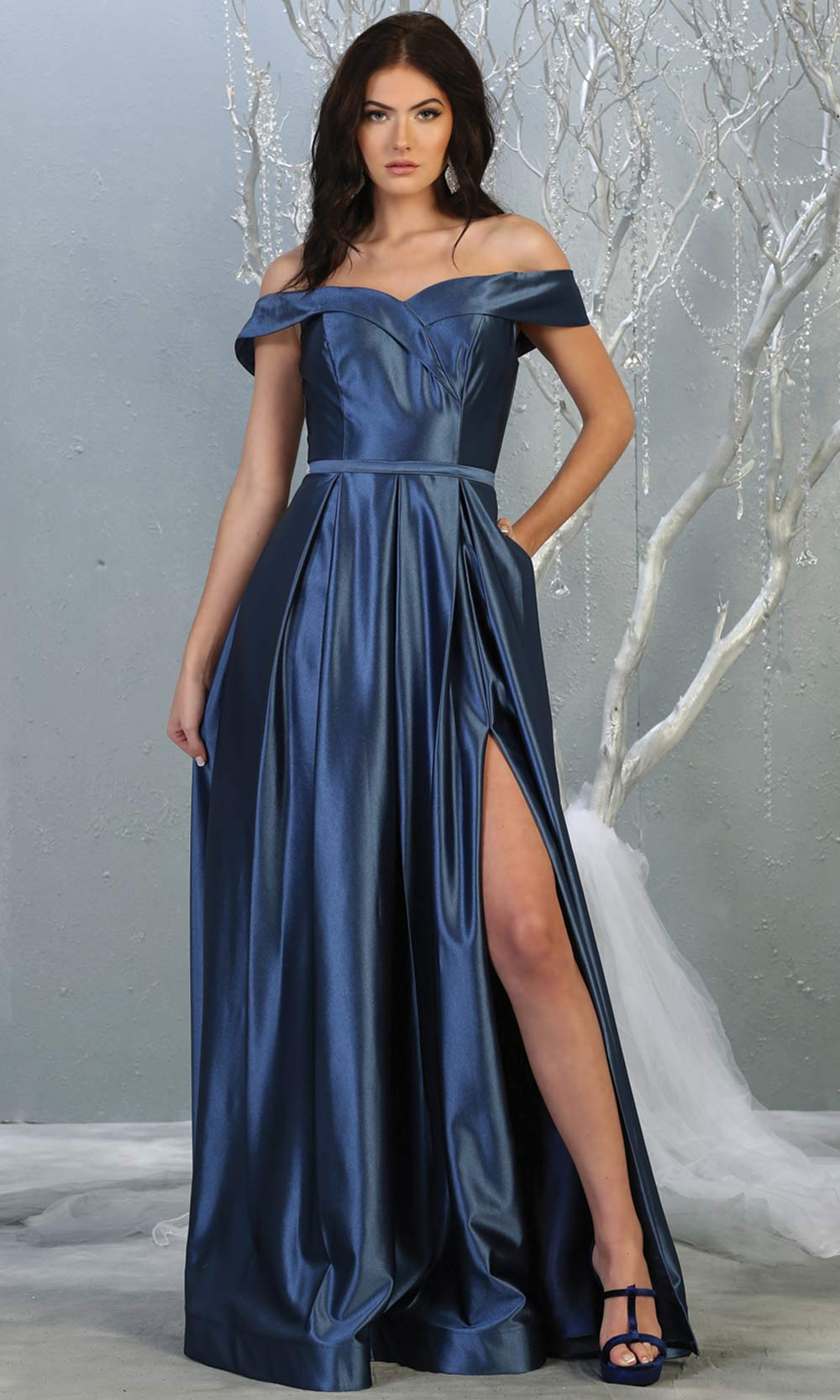 Mayqueen MQ 1781 long navy blue off shoulder evening flowy dress w/ high slit. Full length dark blue satin gown is perfect for  enagagement/e-shoot dress, formal wedding guest, indowestern gown, evening party dress, prom, bridesmaid. Plus sizes avail.jpg