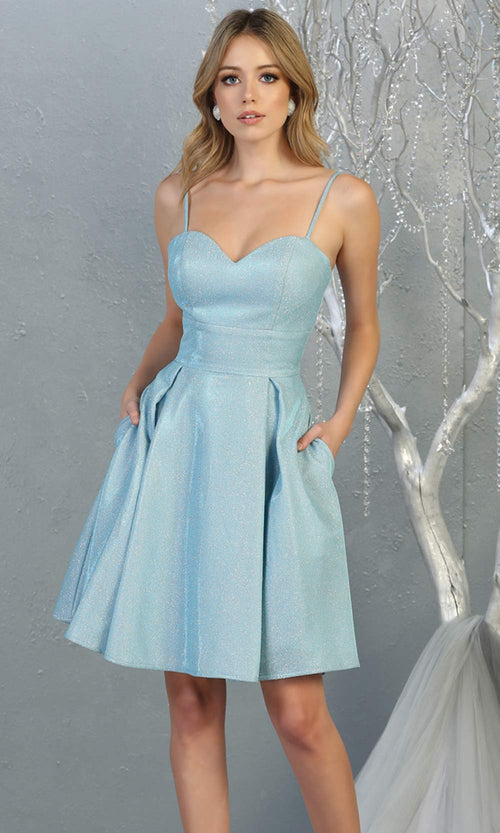 Mayqueen MQ1791 short light blue metallic flowy simple grade 8 graduation dress w/ straps & corset back. Light blue party dress is perfect for graduation, grade 8 grad, confirmation dress, bat mitzvah dress, damas. Plus sizes avail for grad dress.jpg