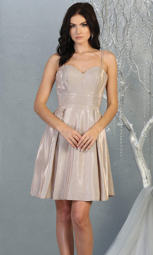 Mayqueen MQ1791 short rose gold metallic flowy simple grade 8 graduation dress w/ straps & corset back. Rose gold party dress is perfect for graduation, grade 8 grad, confirmation dress, bat mitzvah dress, damas. Plus sizes avail for grad dress.jpg