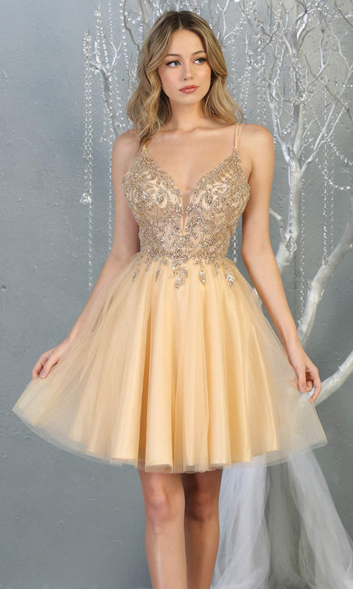 Mayqueen MQ1813 short champagne sequin flowy vneck grade 8 graduation dress w/ straps & puffy skirt. Light gold party dress is perfect for prom, graduation, grade 8 grad, confirmation dress, bat mitzvah dress, damas. Plus sizes avail for grad dress.jpg