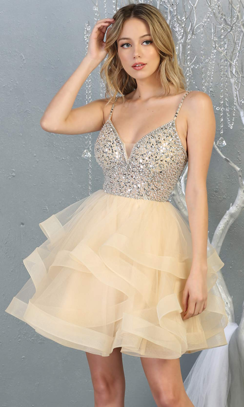 Mayqueen MQ1818 short champagne v neck flowy grade 8 graduation dress w/beaded top & puffy tier skirt. Light gold party dress is perfect for prom, graduation, grade 8 grad, confirmation dress, bat mitzvah dress, damas. Plus sizes avail for grad dress.jpg