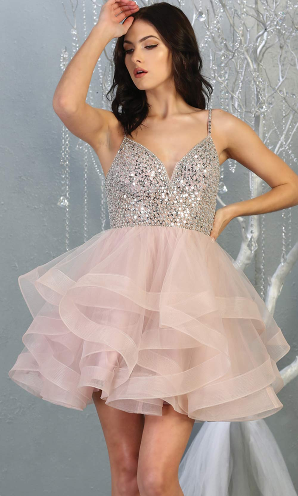 Mayqueen MQ1818 short mauve v neck flowy grade 8 graduation dress w/beaded top & puffy tier skirt. Dusty rose party dress is perfect for prom, graduation, grade 8 grad, confirmation dress, bat mitzvah dress, damas. Plus sizes avail for grad dress.jpg