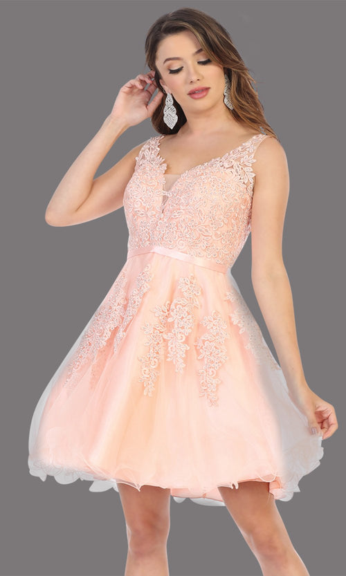 Mayqueen Mq1692 short blush pink flowy v neck simple lace grade 8 graduation dress w/ wide straps. This blush pink party dress is perfect for prom, graduation, grade 8 grad, confirmation dress, bat mitzvah dress, damas. Plus sizes avail.jpg