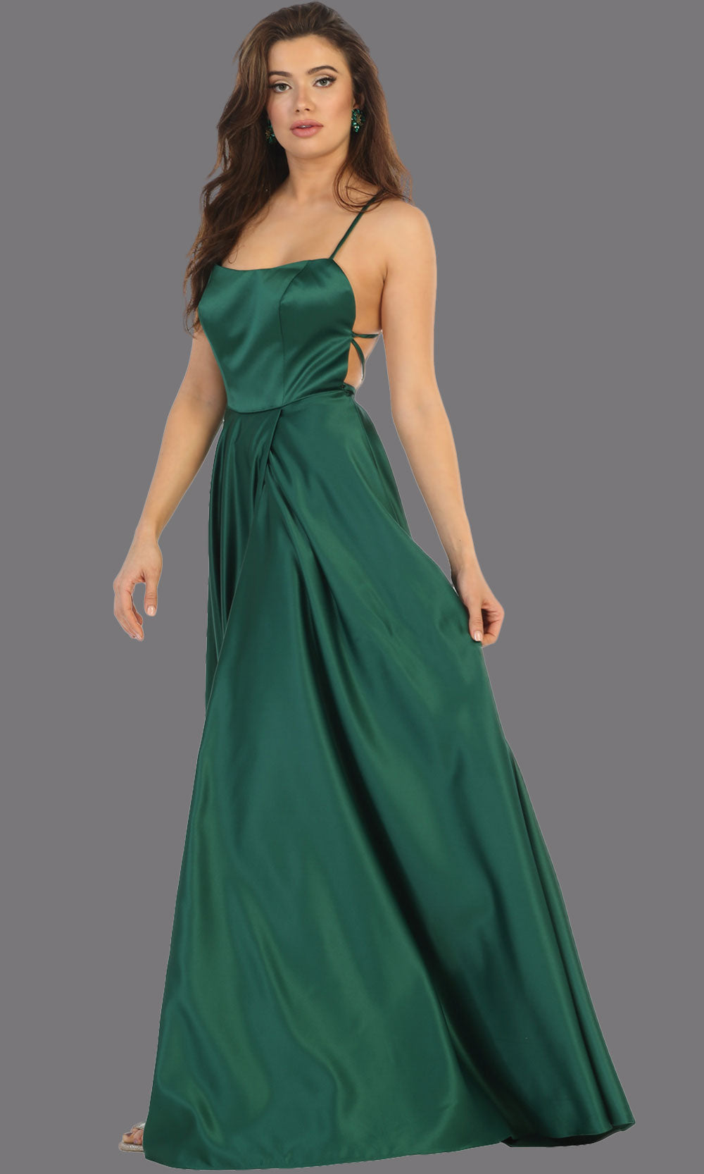 Long Satin Dress with Slit