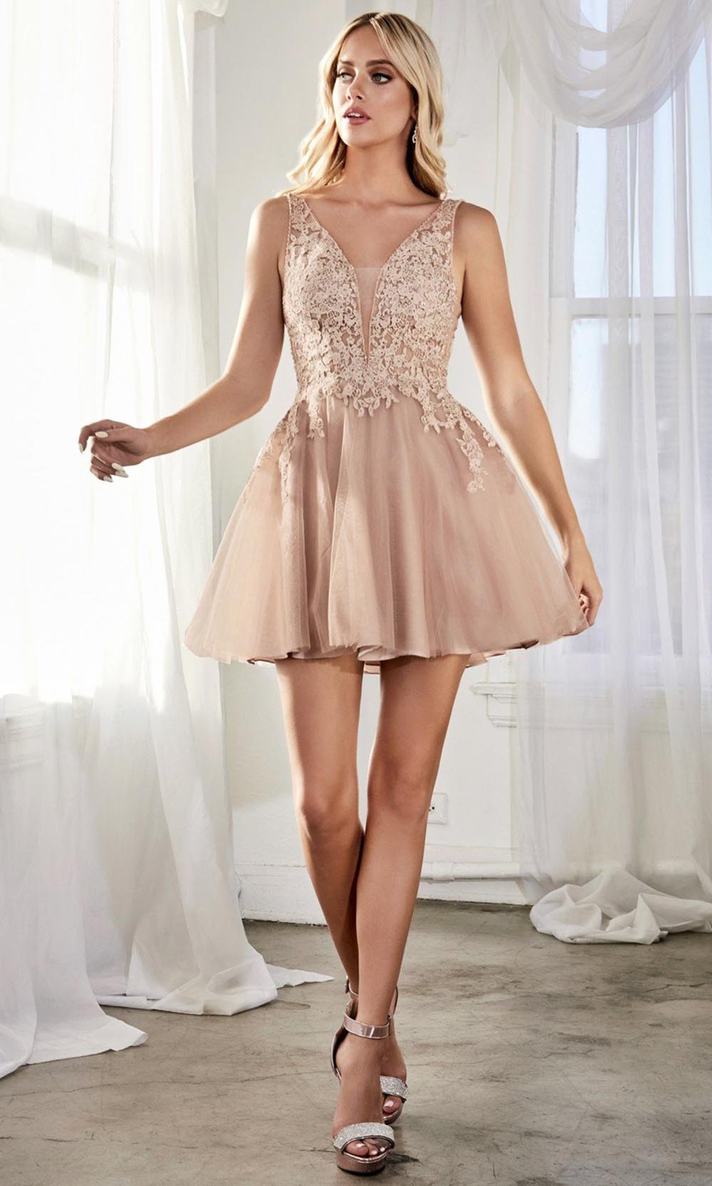 Cinderella Divine - CD204 Applique Deep V Neck A-Line Dress In Pink