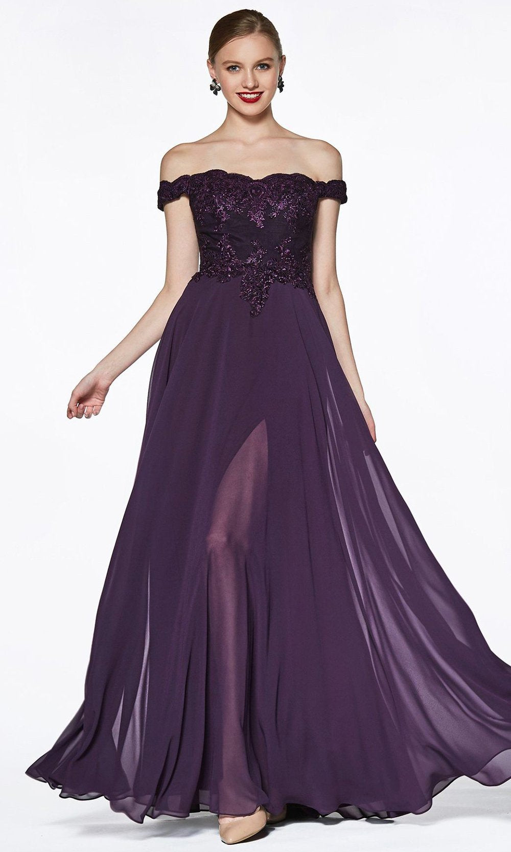 Cinderella Divine - 7258 Scallop Chiffon A-Line Gown In Purple and Black