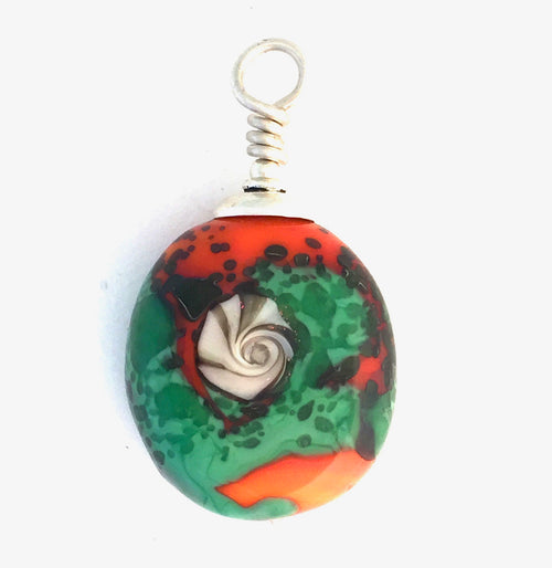 Shells with Orange and Green | Lamp Work Bead | Pendant