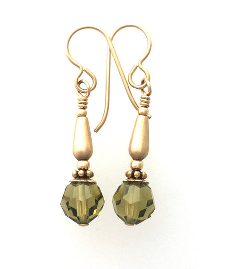 Olivine Swarovski Crystal and 14k Gold Filled Earrings