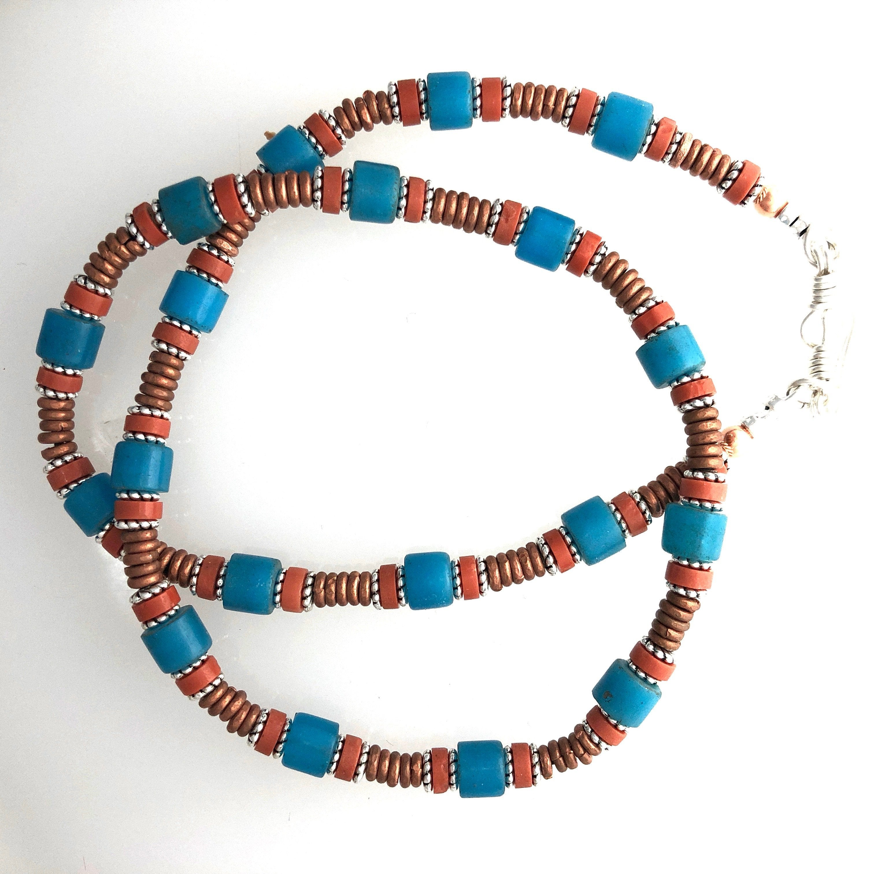 African Trade Bead Choker Necklace 17 ins.