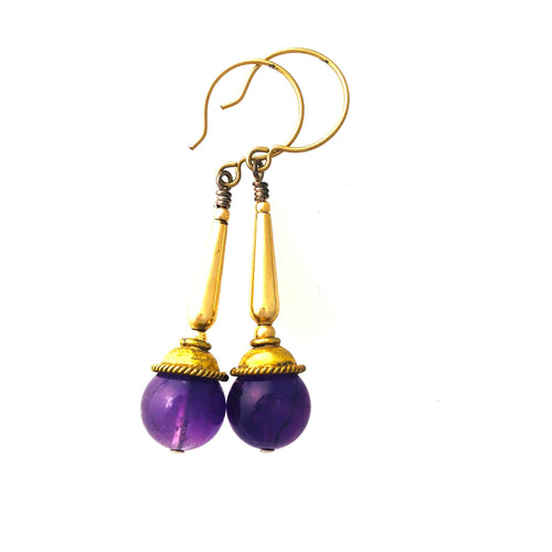 Amethyst and 14 ct Gold Fill Dangle Earrings