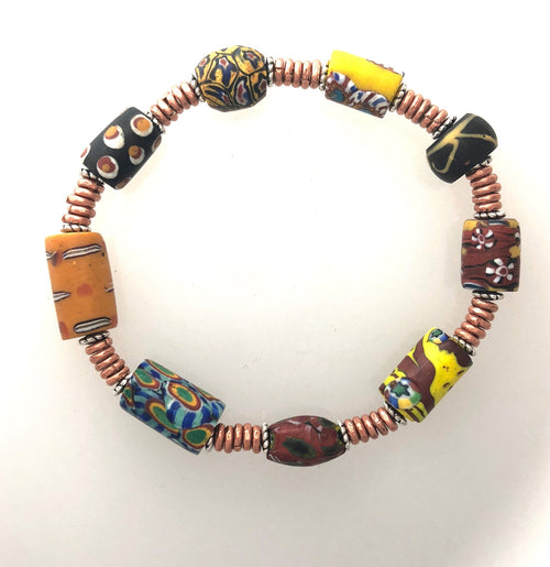 Bracelet Very Exceptional Rare African Trade Beads 7 1/2""