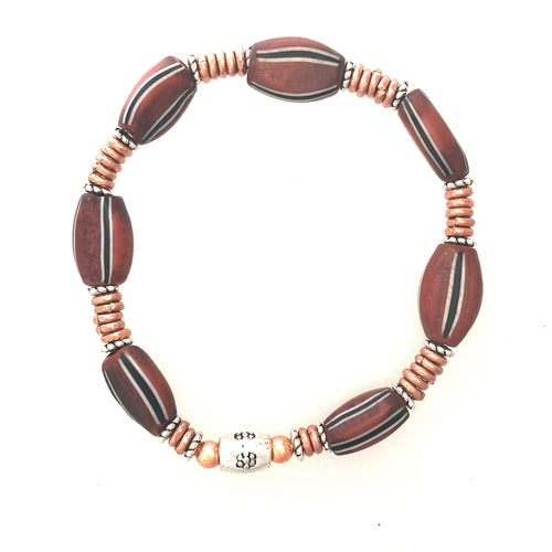 Bracelet African Trade Beads in Brown with Copper  7 inches