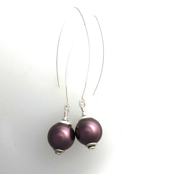 Swarovski Burgundy Pearl Long Earrings