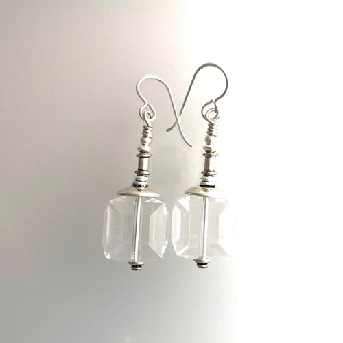 Swarovski Crystal 14mm Cube And Sterling Silver Earrings