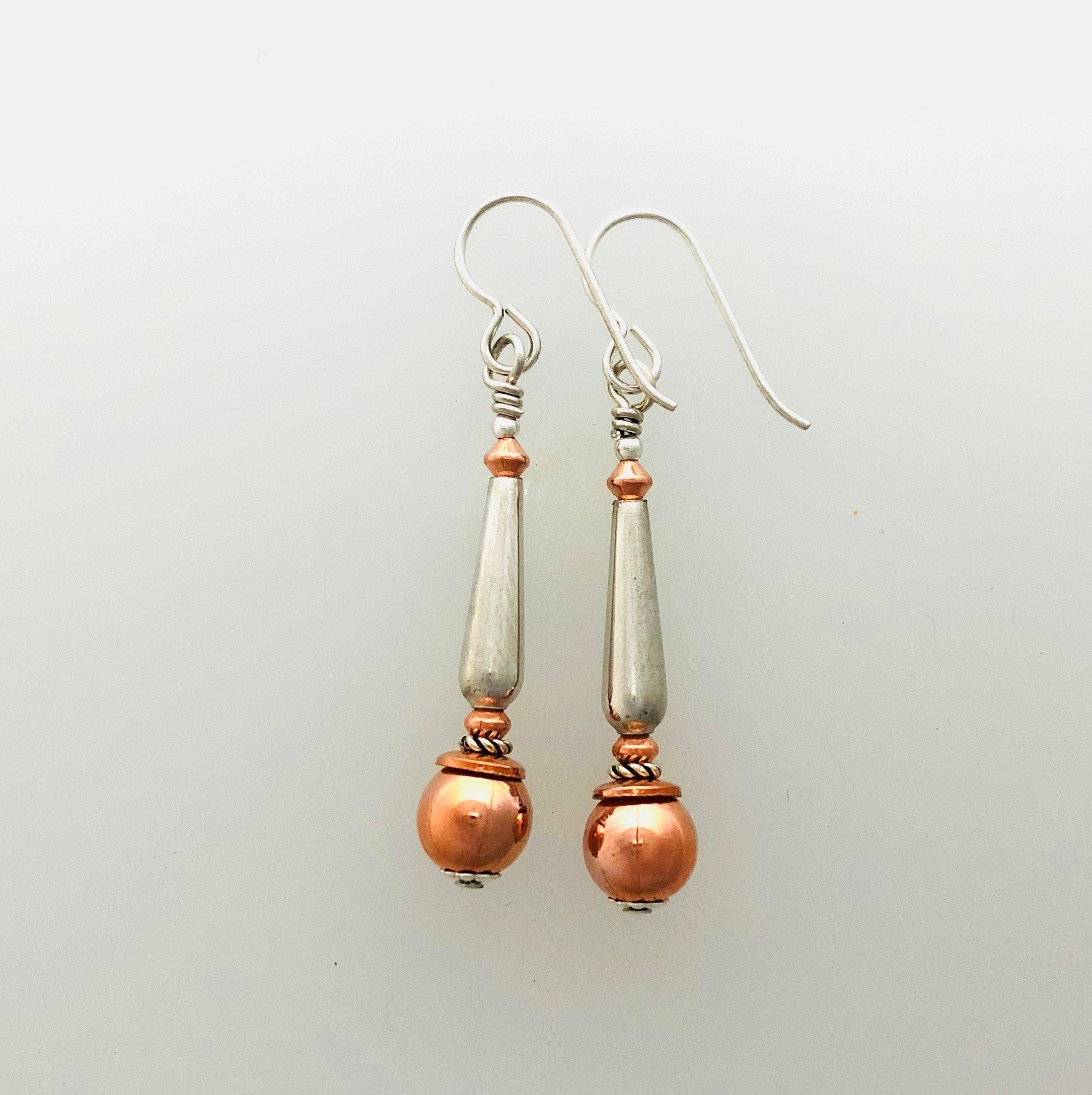 Earrings Copper and Silver #1