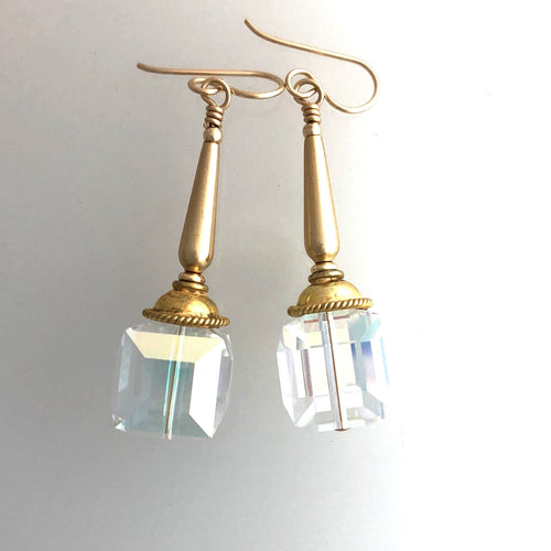 Swarovski Crystal 14mm Cube Earrings in 14k Gold Filled