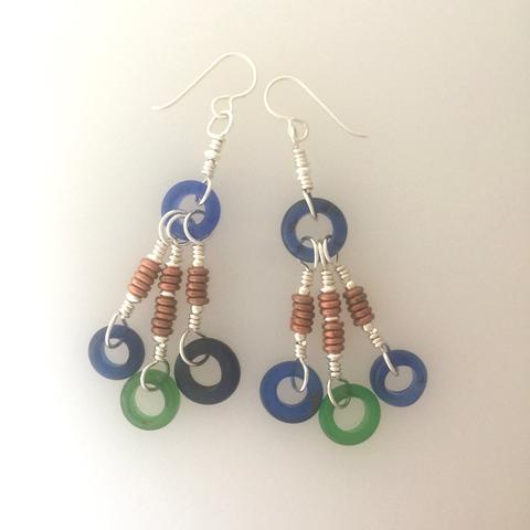 Antique Glass Annular Bead Earrings