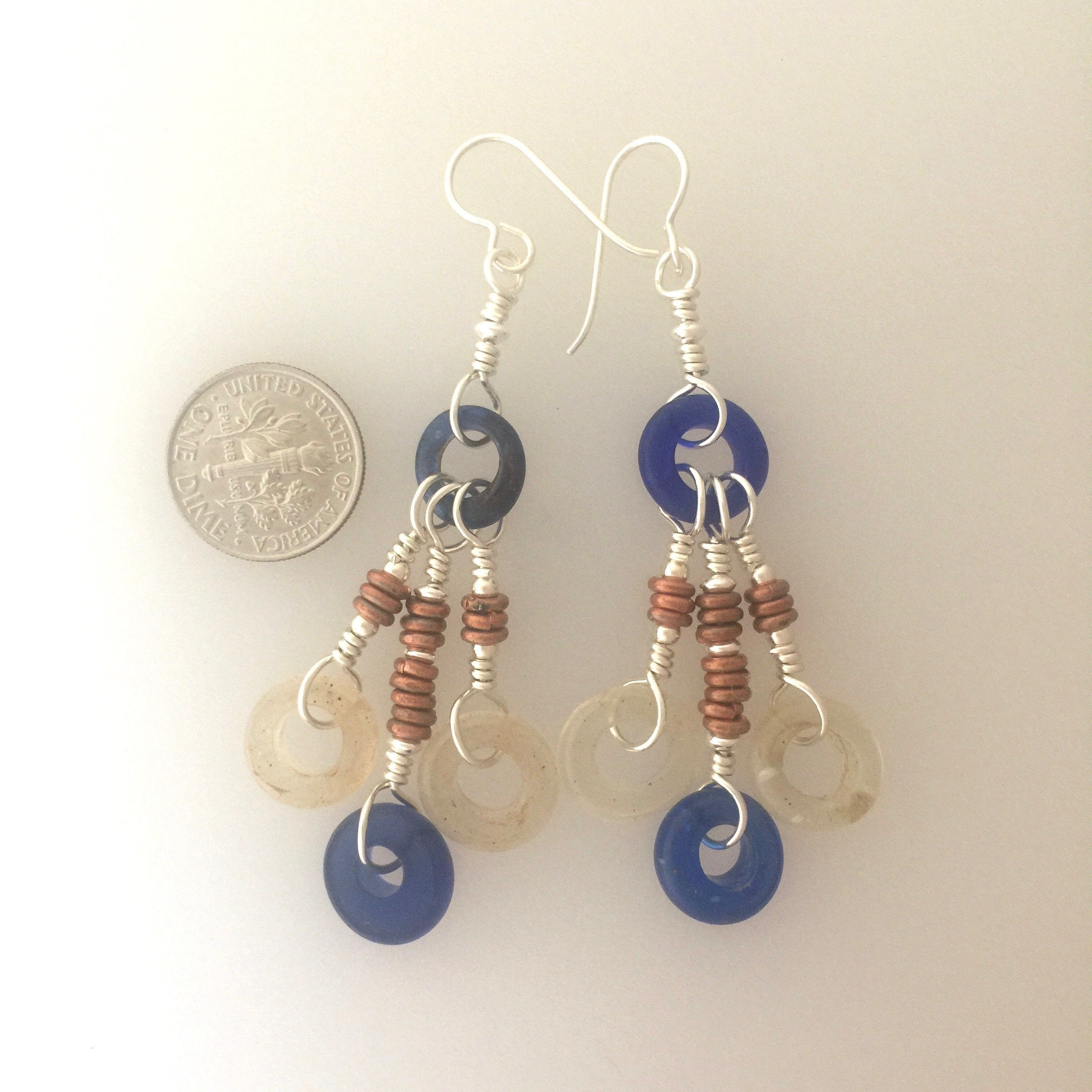 Blue and Clear Antique African Trade Beads | Earrings