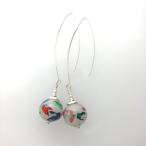 Butterfly reverse Painted Vintage Glass Long Earrings