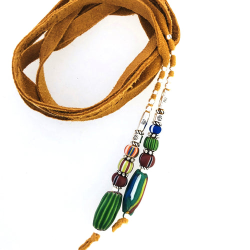 "Fine Leather and Beaded Hair Decoration ""Hair Ties""  25ins African Trade Beads-"