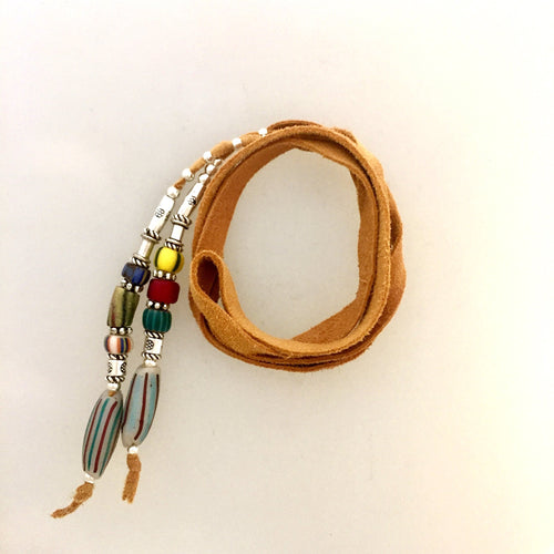 "Fine Leather and Beaded Hair Decoration ""Hair Ties"" 15ins African Trade Beads-"